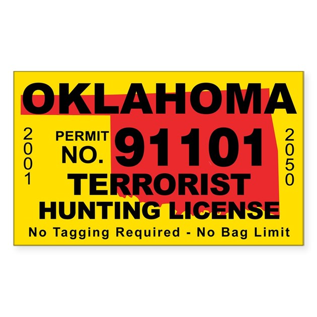 Oklahoma terrorist hunting license decal by cafestickers for Oklahoma non resident fishing license