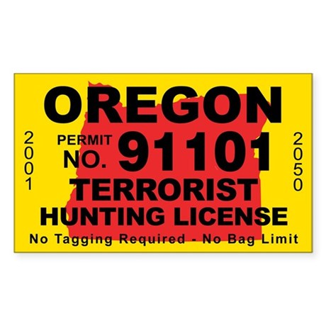 Oregon terrorist hunting license decal by cafestickers for Oregon out of state fishing license