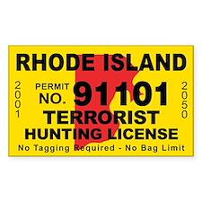 Rhode Island Terrorist Hunting License Bumper Stickers