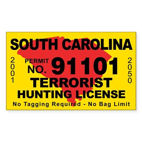 South Carolina Terrorist Hunting License Decal By Cafestickers