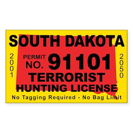 South Dakota Terrorist Hunting License Sticker