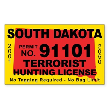 South Dakota Terrorist Hunting License Decal By Cafestickers