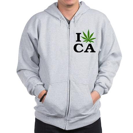 I Love Cannabis Marijuana California Zip Hoodie