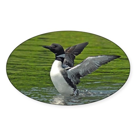 Loon stretching Sticker (Oval)