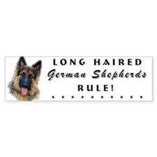 Long Haired GSD Bumper Car Sticker