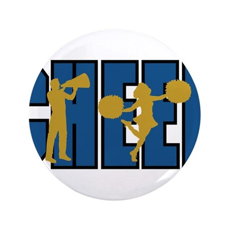 """CHEER *15* {blue/gold} 3.5"""" Button (100 pack)"""