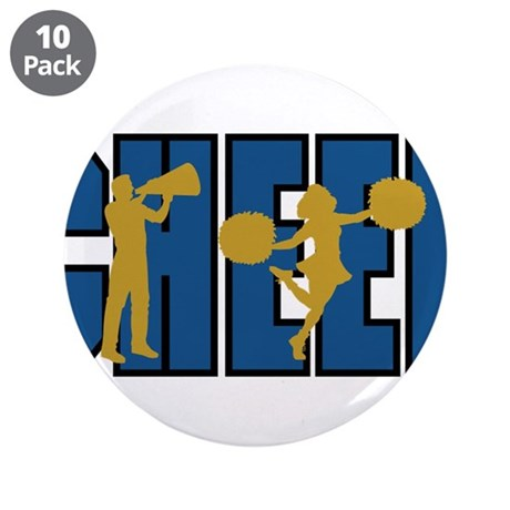 """CHEER *15* {blue/gold} 3.5"""" Button (10 pack)"""