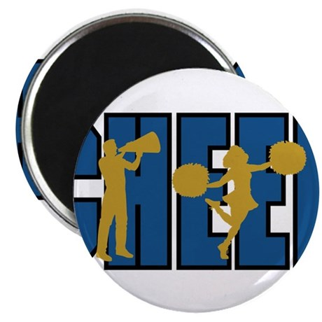 """CHEER *15* {blue/gold} 2.25"""" Magnet (10 pack)"""