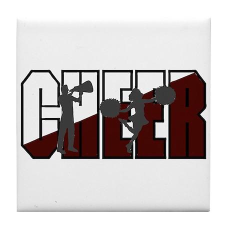 CHEER *16* {crimson/white/gra Tile Coaster