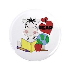 """Zebra Love Reading 3.5"""" Button"""