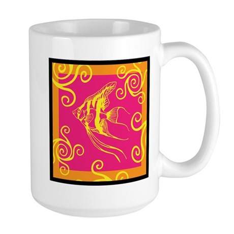 Swirly Fish Bright Large Mug