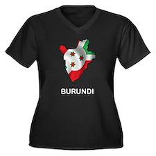 Map of Burundi Women's Plus Size V-Neck Dark T-Shi