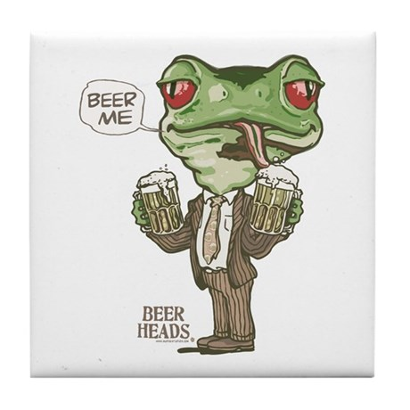 Beer Me Frog Tile Coaster