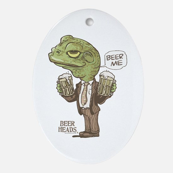 Beer Me Frog 2 Ornament (Oval)