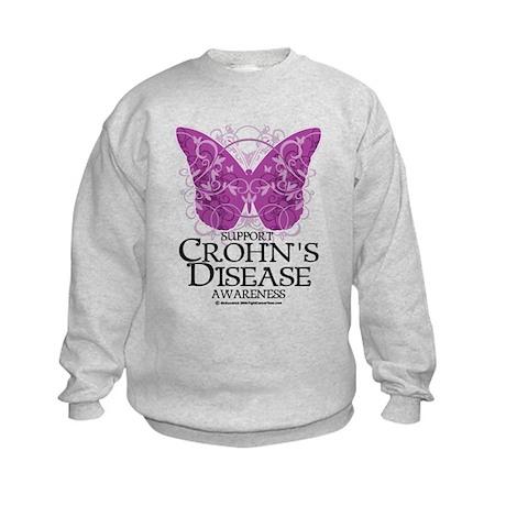 Crohn's Disease Butterfly Kids Sweatshirt