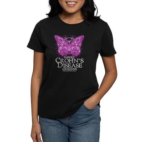 Crohn's Disease Butterfly Women's Dark T-Shirt