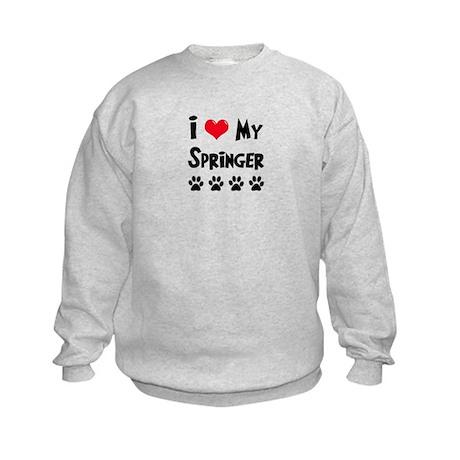 I Love My Springer Kids Sweatshirt