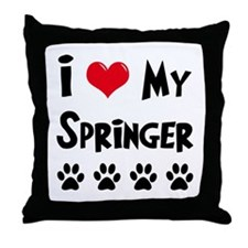 I Love My Springer Throw Pillow