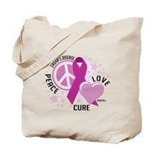 Crohn's Disease Peace Love Cu Tote Bag