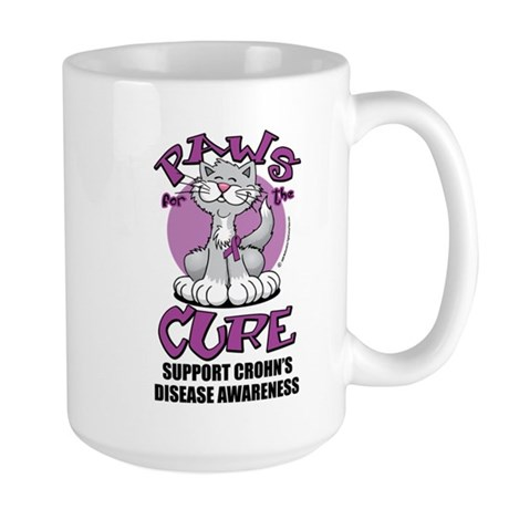 Paws For The Cure Crohn's Dis Large Mug