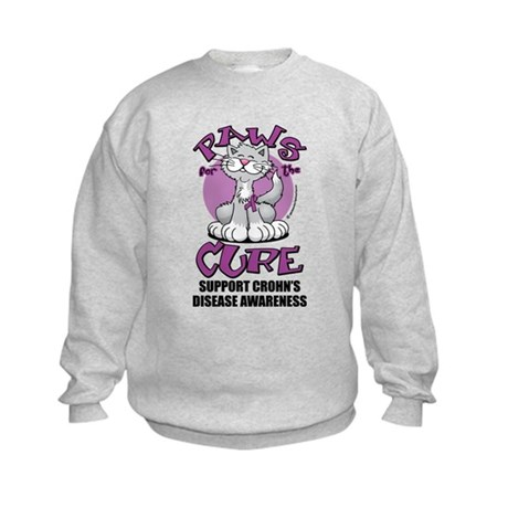 Paws For The Cure Crohn's Dis Kids Sweatshirt