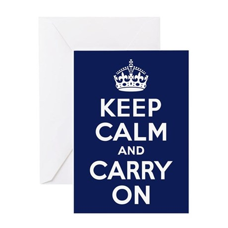 Keep Calm and Carry On Poster - Navy Blue Greeting