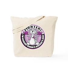 Crohn's Disease Fighter Cat Tote Bag