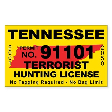 Tennessee terrorist hunting license decal by cafestickers for Tn fishing license online