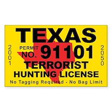 TexasTerrorist Hunting License Bumper Stickers