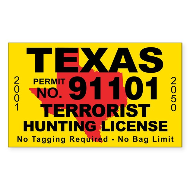Texasterrorist hunting license decal by cafestickers for Fishing license idaho