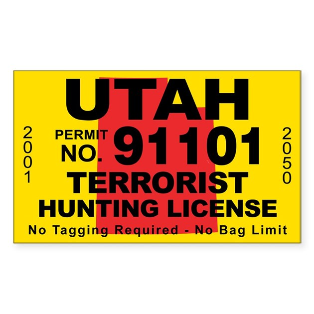 Utahterrorist hunting license decal by cafestickers for Utah non resident fishing license