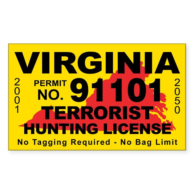 Virginiaterrorist hunting license decal by cafestickers for Fishing license va walmart