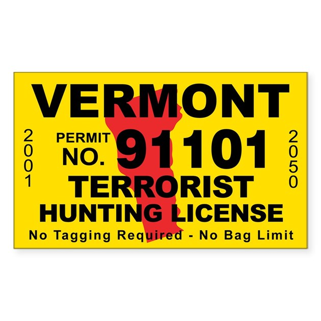 Vermont terrorist hunting license decal by cafestickers for Nh fishing license