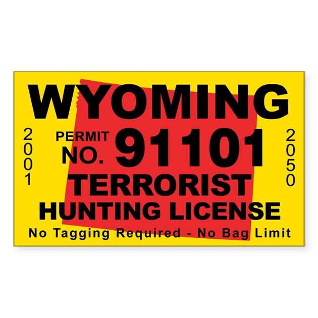 Wyoming terrorist hunting license decal by cafestickers for Wyoming fishing license