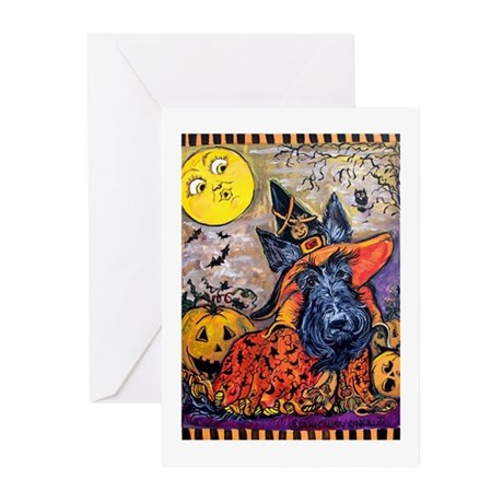 Witch Scottie Halloween Greeting Cards (Pk of 10)