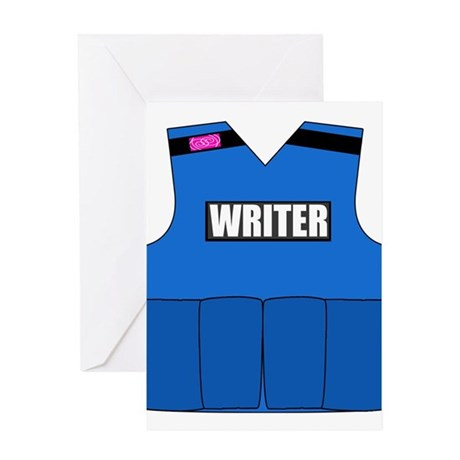 writerbutton Greeting Cards