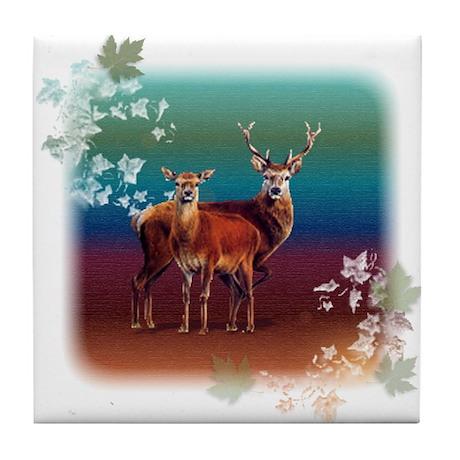 Red Deer Tile Coaster by tshirtee