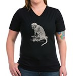 Monkey Women's V-Neck Dark T-Shirt
