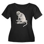 Monkey Women's Plus Size Scoop Neck Dark T-Shirt