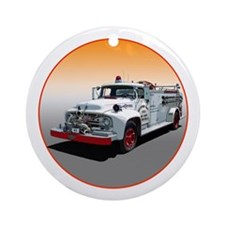 Cute Fireman christmas Ornament (Round)