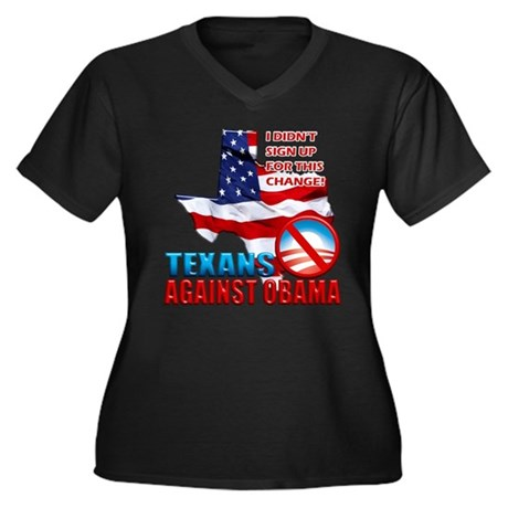 Texans Against Obama Women's Plus Size V-Neck Dark