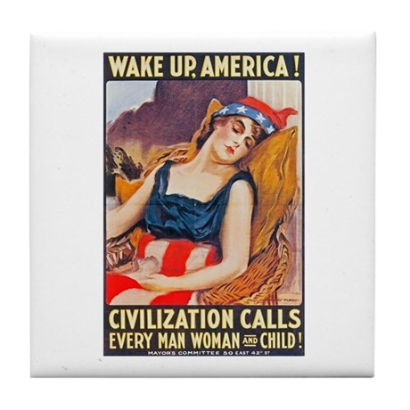 Wake Up America Poster Art Tile Coaster