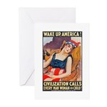 Wake Up America Poster Art Greeting Cards (Package