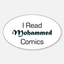 I Read Mohammed Comics Oval Decal