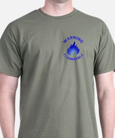 Flammable Warning (blue) T-Shirt