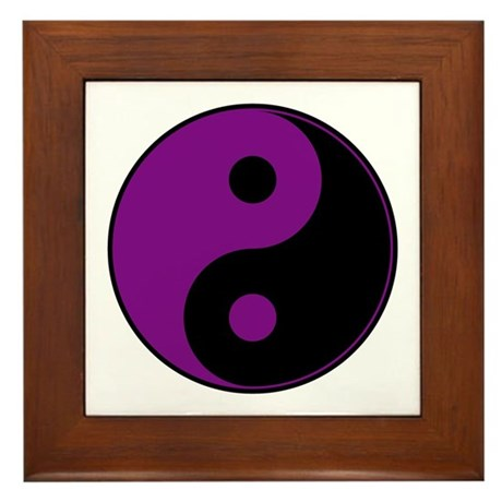 Purple-Black Yin Yang Framed Tile