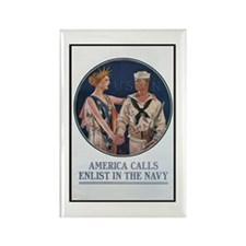 Enlist in the Navy Poster Art Rectangle Magnet