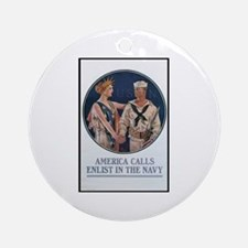Enlist in the Navy Poster Art Ornament (Round)