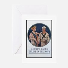 Enlist in the Navy Poster Art Greeting Cards (Pack