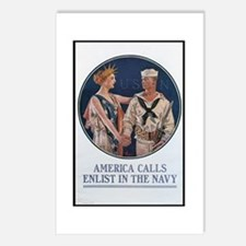 Enlist in the Navy Poster Art Postcards (Package o